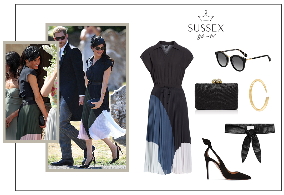 MEGHAN MARKLE WEARS PLEATED CLUB MONACO DRESS AND LINDA FARROW SUNGLASSES TO CHARLIE VON STRAUBENZEE'S WEDDING