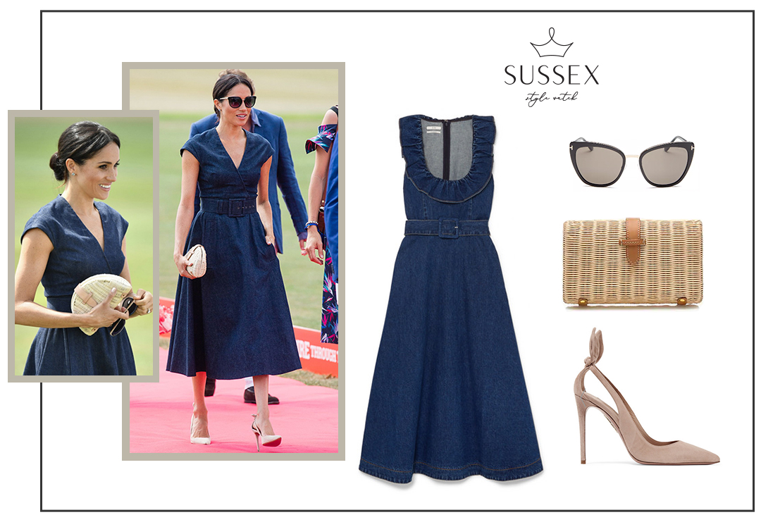 MEGHAN MARKLE WEARS DENIM MIDI DRESS TO SENTEBALE POLO CUP