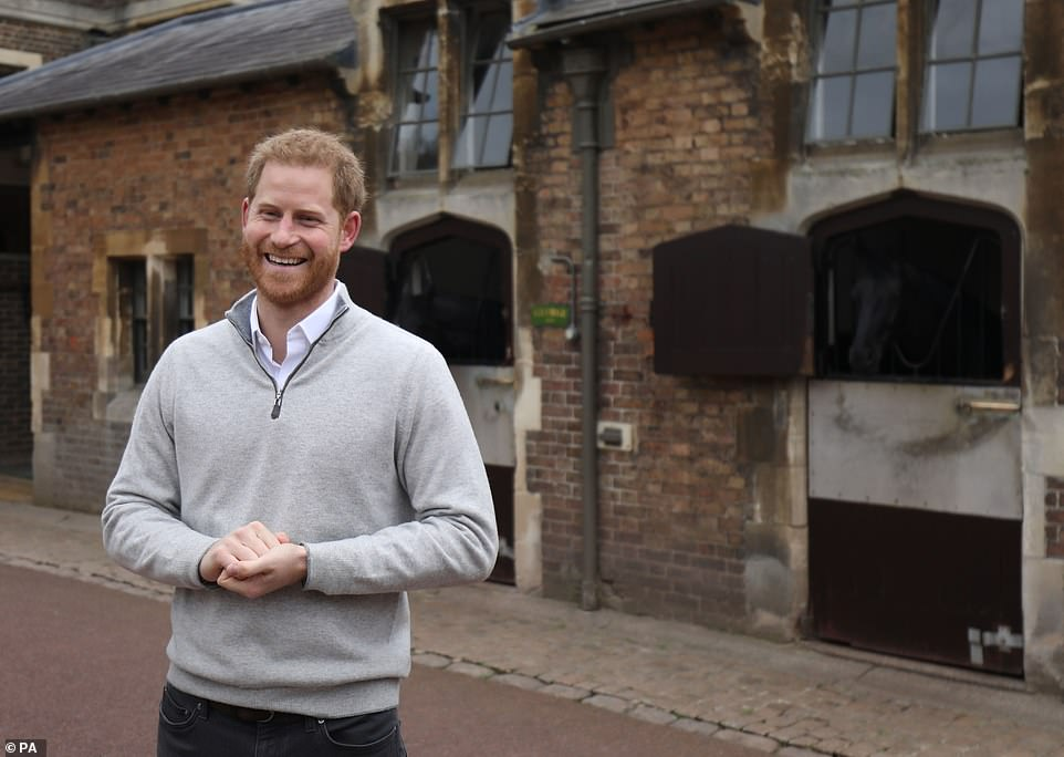 PRINCE HARRY AT FROGMORE COTTAGE ANNOUNCING BIRTH OF FIRST CHILD WITH MEGHAN MARKLE
