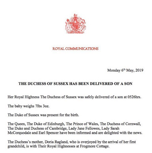 MEGHAN MARKLE AND PRINCE HARRY BABY BOY BIRTH ANNOUNCEMENT
