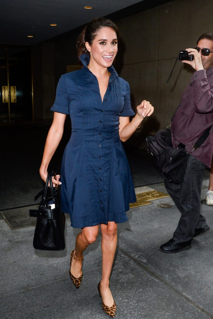 MEGHAN MARKLE WEARS TAILORED NAVY SHIRTDRESS AND LEOPARD SARAH FLINT PUMPS IN NEW YORK CITY