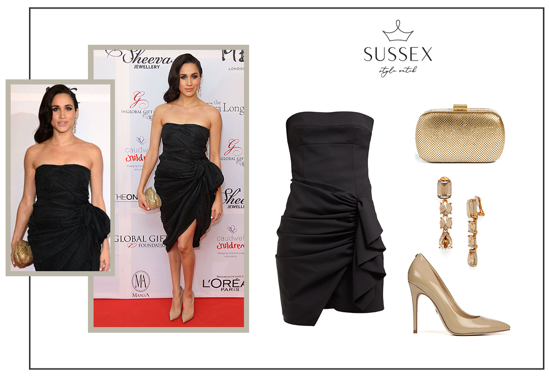 MEGHAN MARKLE WEARS BLACK DRAPED STRAPLESS COCKTAIL DRESS