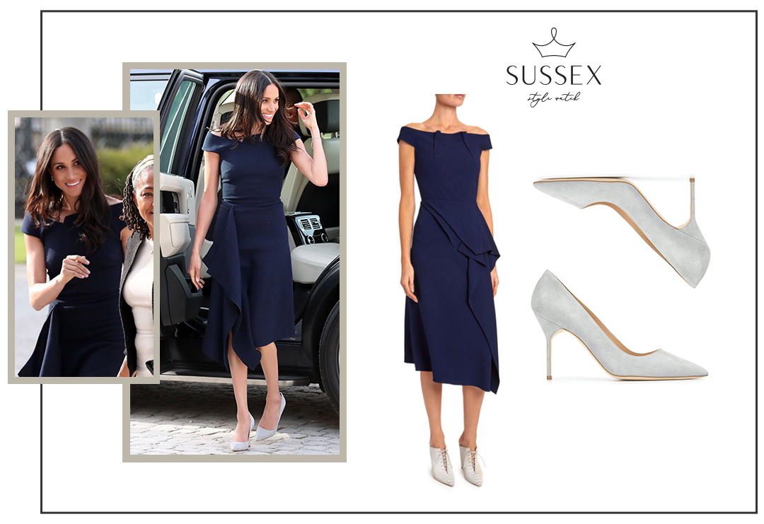 MEGHAN MARKLE WEARS NAVY ROLAND MOURET SHEATH TO CLIVEDEN HOUSE AHEAD OF ROYAL WEDDING