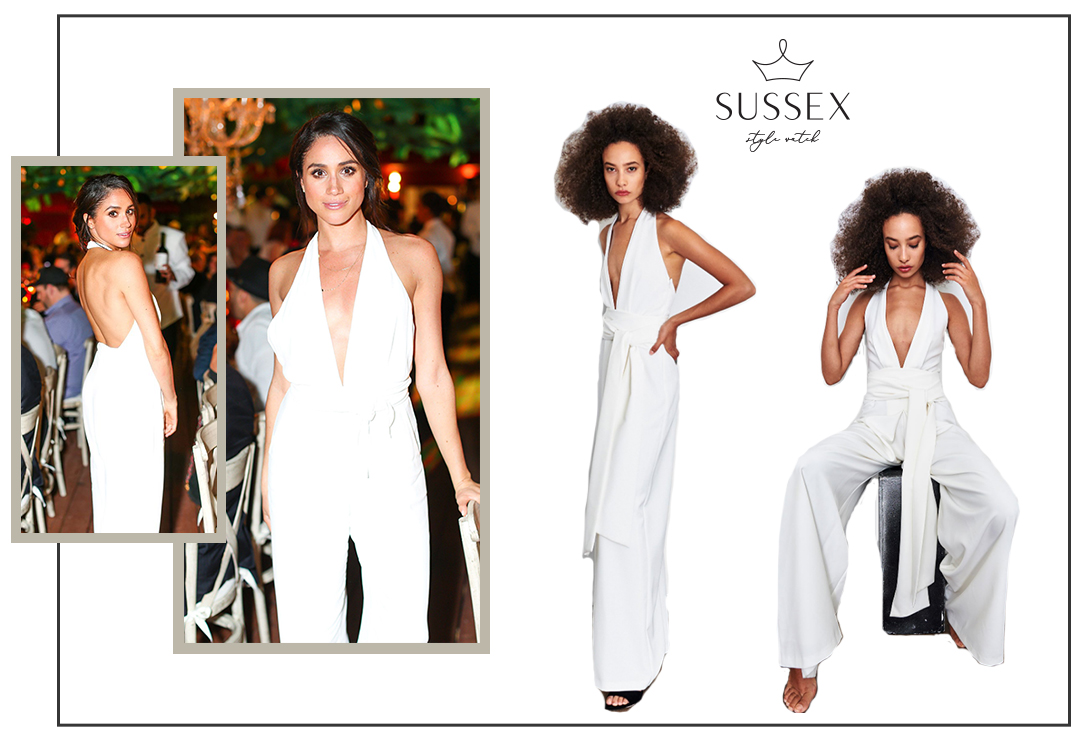 MEGHAN MARKLE WEARS WHITE JUMPSUIT TO BEC & BRIDGE EVENT