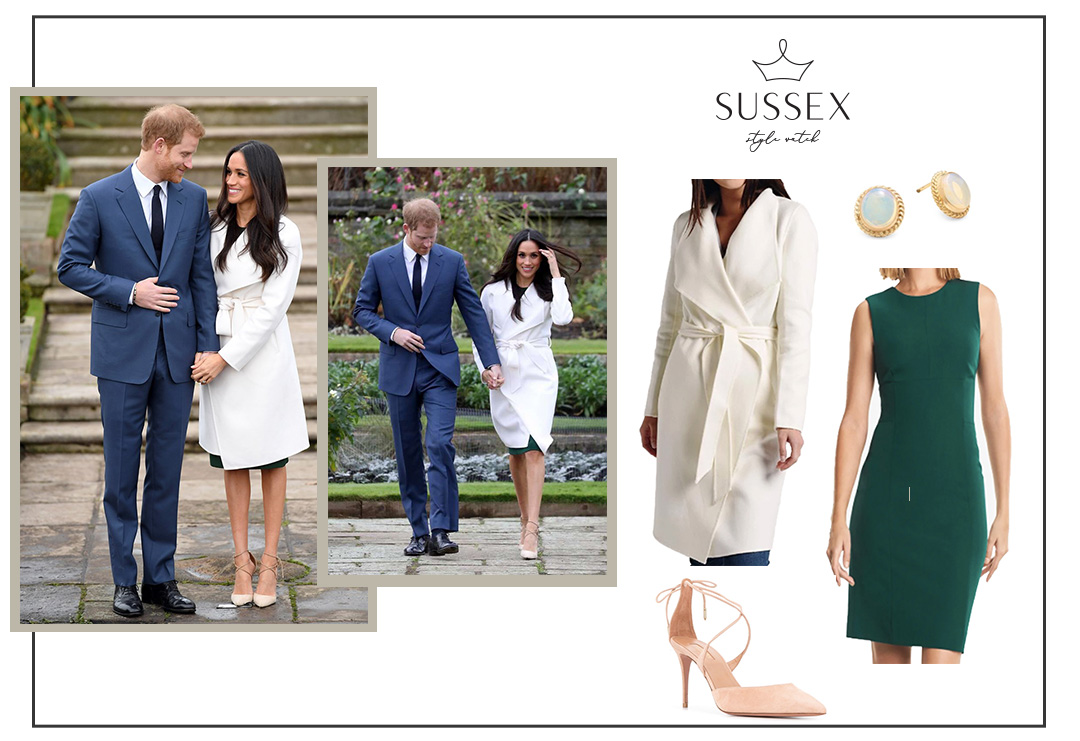 MEGHAN MARKLE WEARS GREEN DRESS & IVORY COAT TO ENGAGEMENT ANNOUNCEMENT