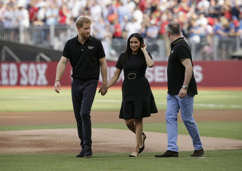 MEGHAN MARKLE WEARS BLACK STELLA MCCARTNEY DRESS FOR MAJOR LEAGUE BASEBALL GAME IN LONDON