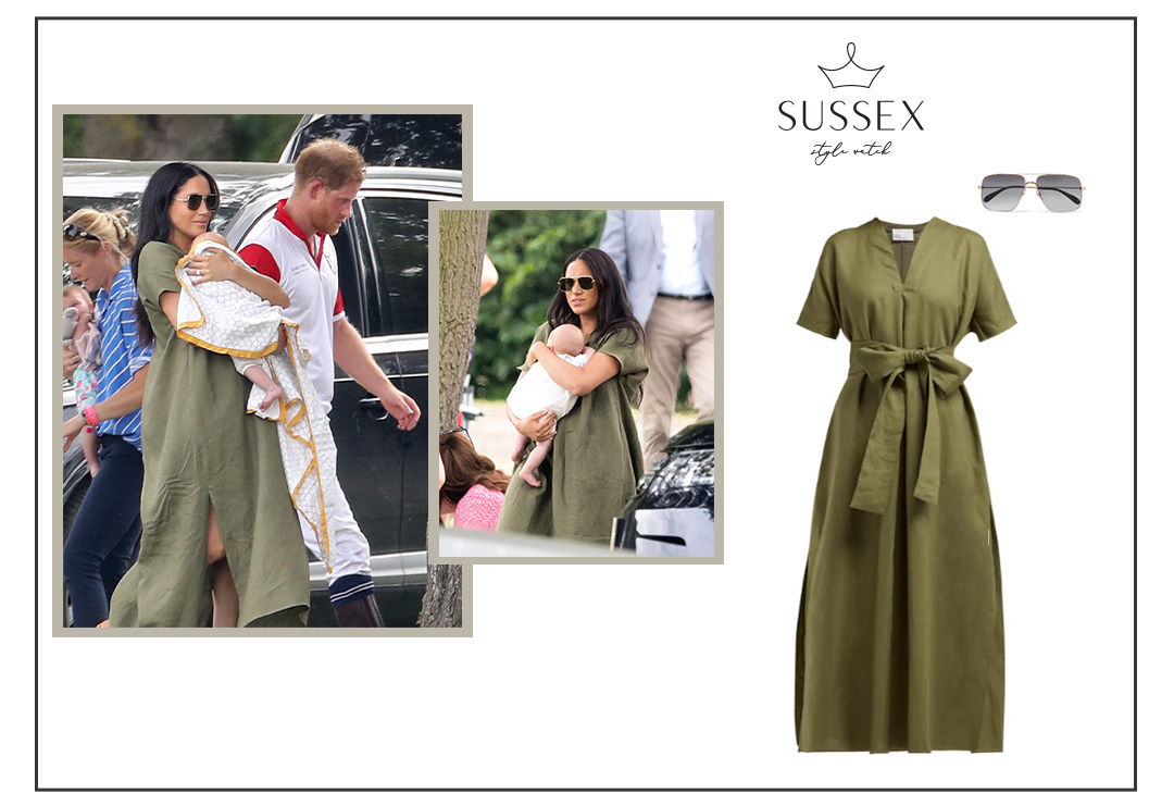 MEGHAN MARKLE WEARS LISA MARIE FERNANDEZ DRESS FOR CHARITY POLO MATCH WITH BABY ARCHIE