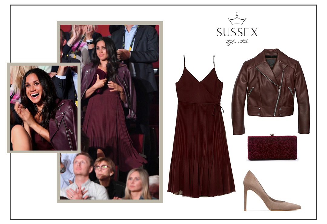 MEGHAN MARKLE WEARS BURGUNDY ARITZIA DRESS AND MATCHING LEATHER JACKET TO INVICTUS GAMES