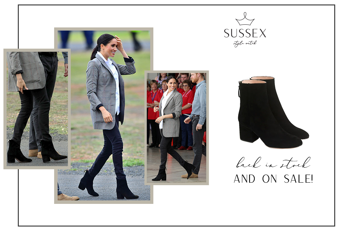 MEGHAN'S BLACK SUEDE BOOTS ARE BACK IN STOCK AND 40% OFF!
