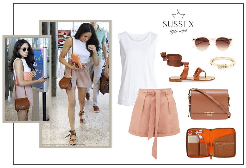 Meghan Markle Wears Peach Club Monaco Shorts at Austin Airport