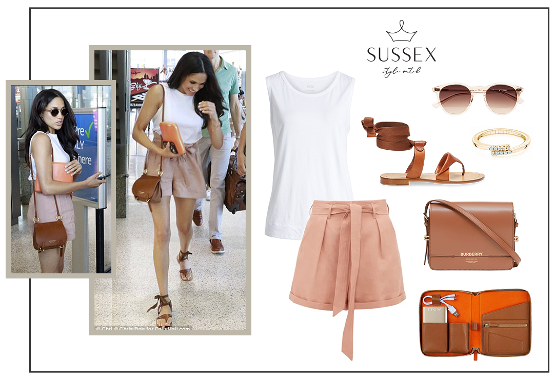 MEGHAN MARKLE WEARS CLUB MONACO ANREE SHORTS AUSTIN AIRPORT