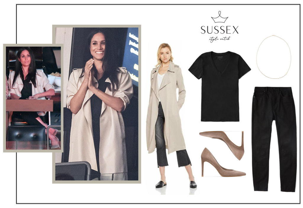 MEGHAN MARKLE WEARS NEUTRAL TRENCH, EVERLANE JEANS AND STUART WEITZMAN PUMPS TO INVICTUS GAMES CLOSING CEREMONY