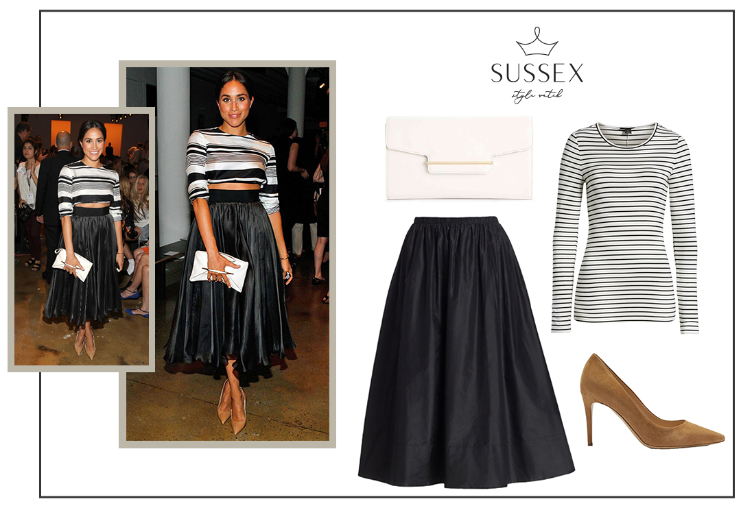 MEGHAN MARKLE WEARS BLACK & WHITE EVENING LOOK TO PETER SOM FASHION SHOW 2015