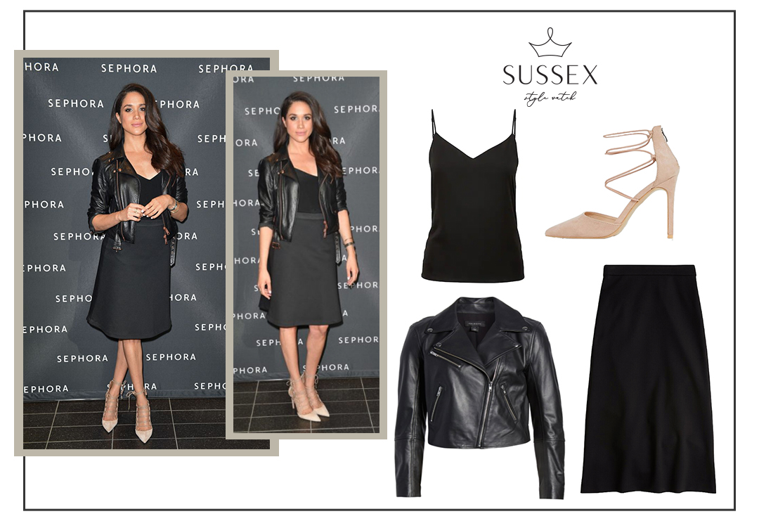 MEGHAN MARKLE WEARS ALL BLACK TO REOPENING OF SEPHORA IN 2016