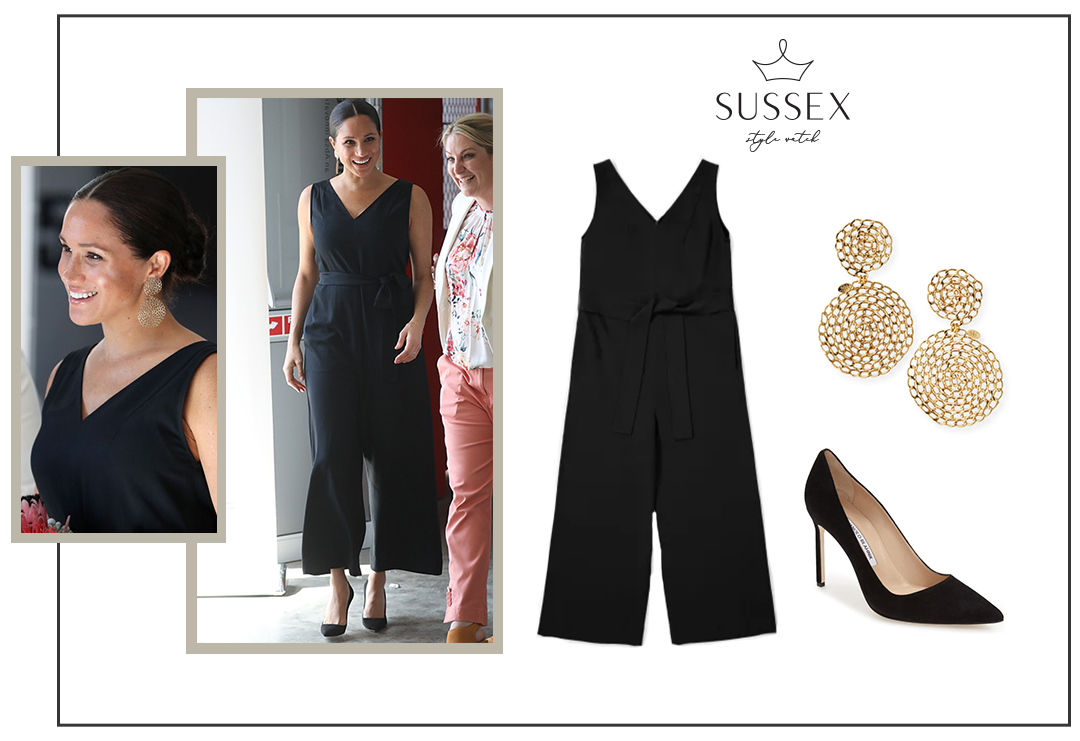 MEGHAN MARKLE WEARS REPEAT EVERLANE JUMPSUIT AND GAS BIJOUX EARRINGS TO MEET FEMALE ENTREPRENEURS IN SOUTH AFRICA