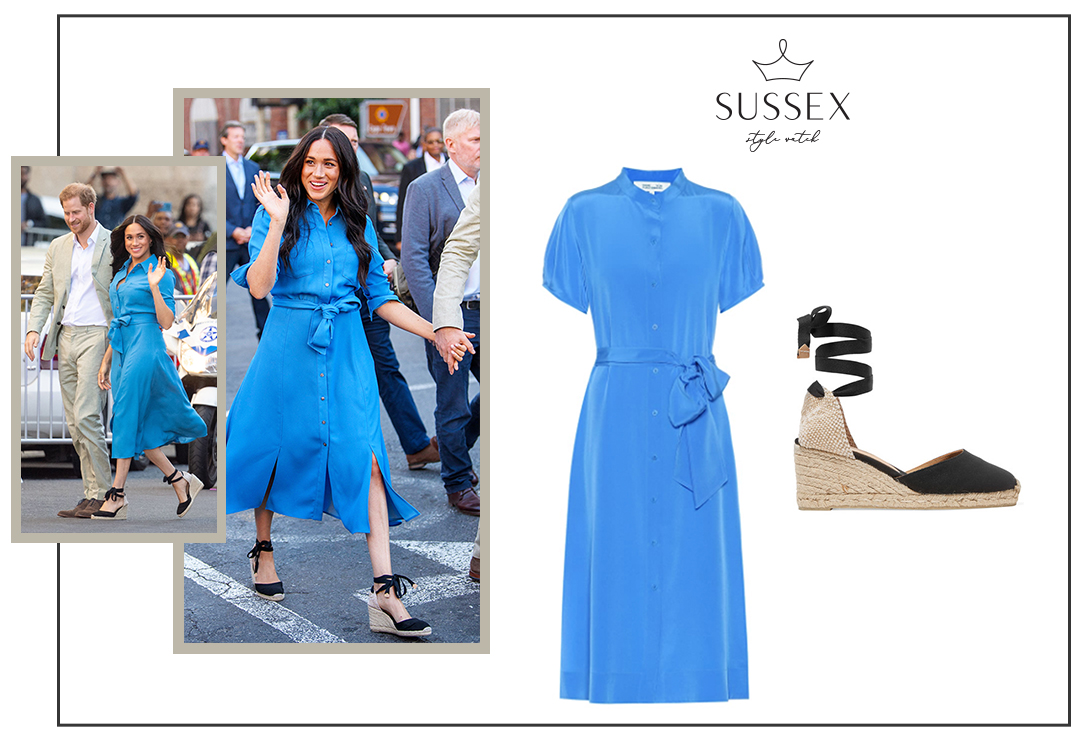 MEGHAN MARKLE REPEATS VERONICA BEARD SHIRTDRESS + LACE-UP ESPADRILLES IN CAPE TOWN
