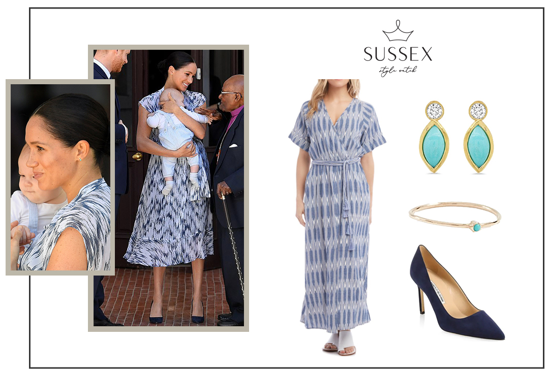 MEGHAN MARKLE WEARS CLUB MONACO DRESS TO INTRODUCE ARCHIE TO ARCHBISHOP DESMOND TUTU IN CAPE TOWN