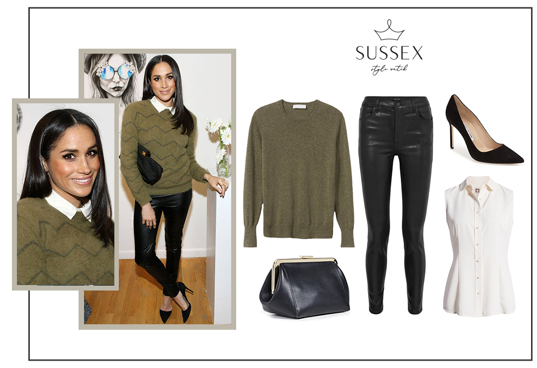 MEGHAN MARKLE ATTENDS 2014 MARC JACOBS EVENT IN GREEN SWEATER + LEATHER PANTS