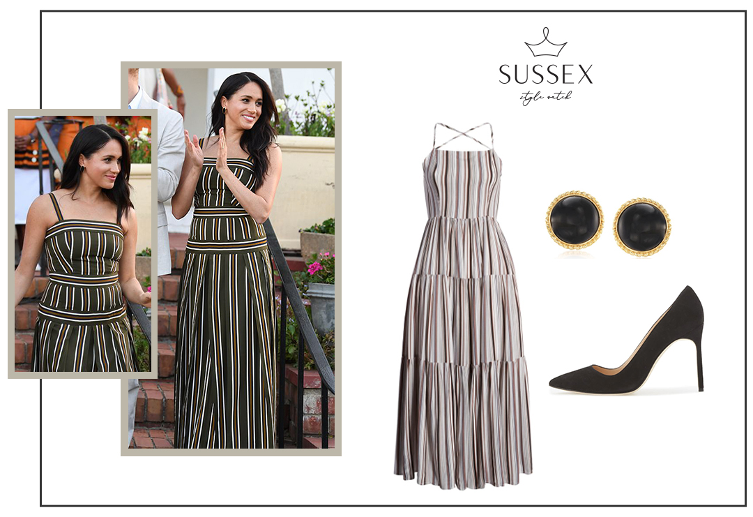 MEGHAN MARKLE REPEATS MARTIN GRANT STRIPED MAXI DRESS FOR THE BRITISH HIGH COMMISSIONER'S RECEPTION