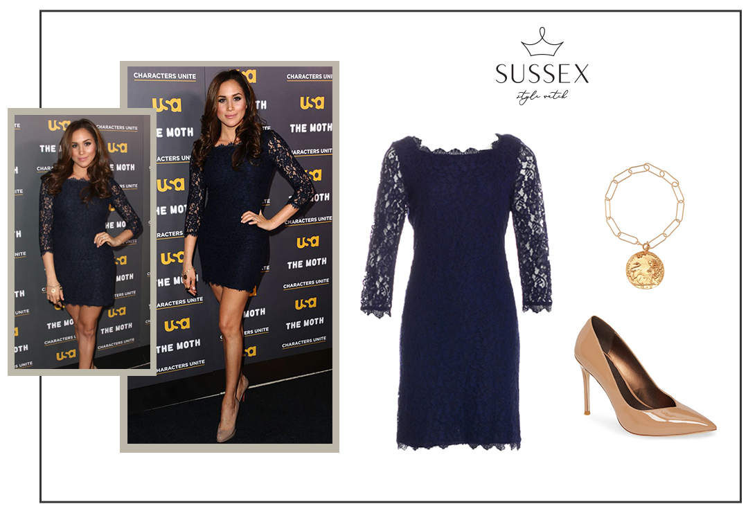 MEGHAN MARKLE WEARS NAVY LACE DVF DRESS TO USA NETWORK EVENT 2012