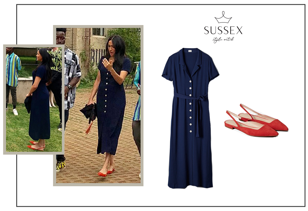 MEGHAN MARKLE WEARS NAVY SHIRT DRESS AND RED FLATS IN JOHANNESBURG