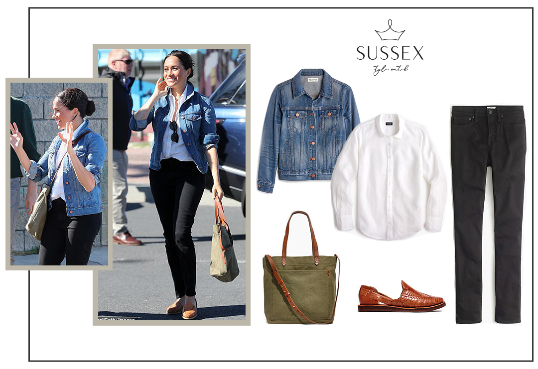 MEGHAN MARKLE WEARS MADEWELL DENIM JACKET AND TRANSPORT TOTE VISITING MONWABISI BEACH IN SOUTH AFRICA