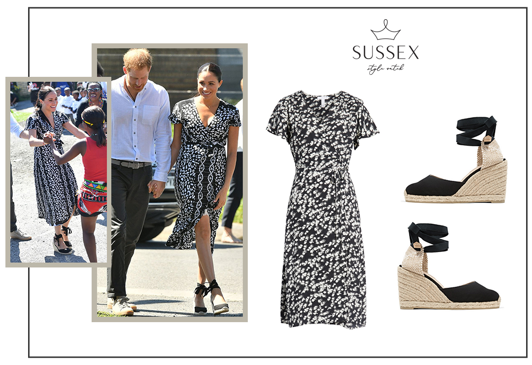 MEGHAN MARKLE WEARS MAYAMIKO PRINTED WRAP DRESS AND CASTANER ESPADRILLES IN NYANGA, SOUTH AFRICA