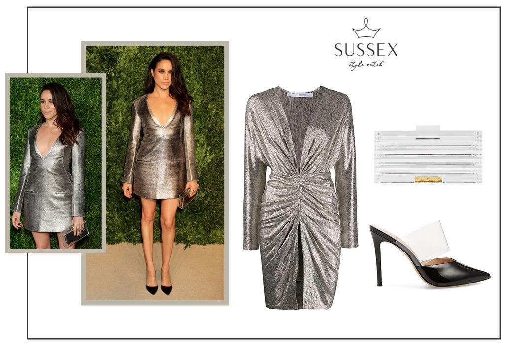 Meghan Markle wears silver Misha Nonoo Dress
