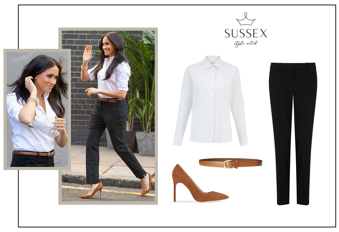 MEGHAN MARKLE WEARS MISHA NONOO SHIRT AND JIGSAW PANTS TO SMART SET LAUNCH FOR SMART WORKS