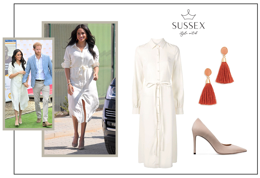 MEGHAN MARKLE WEARS CREAM CO SHIRTDRESS TO YOUTH EMPLOYMENT SERVICES HUB IN SOUTH AFRICA