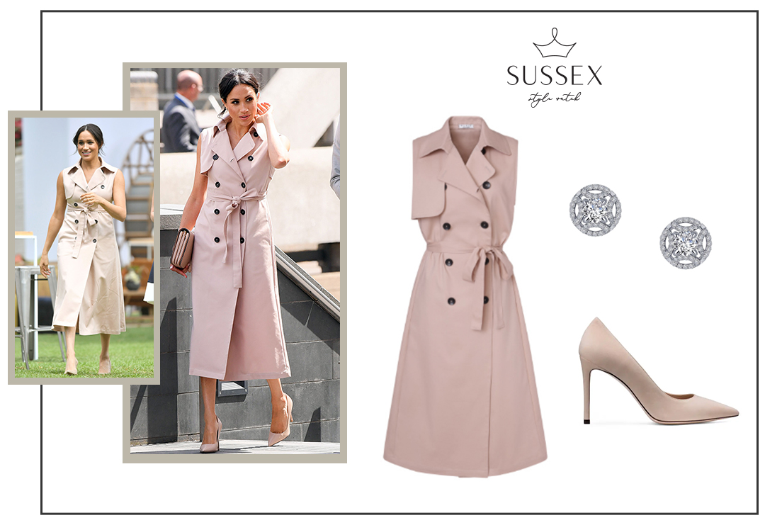 MEGHAN MARKLE REPEATS BLUSH HOUSE OF NONIE TRENCH DRESS TO MEET GRAÇA MACHEL
