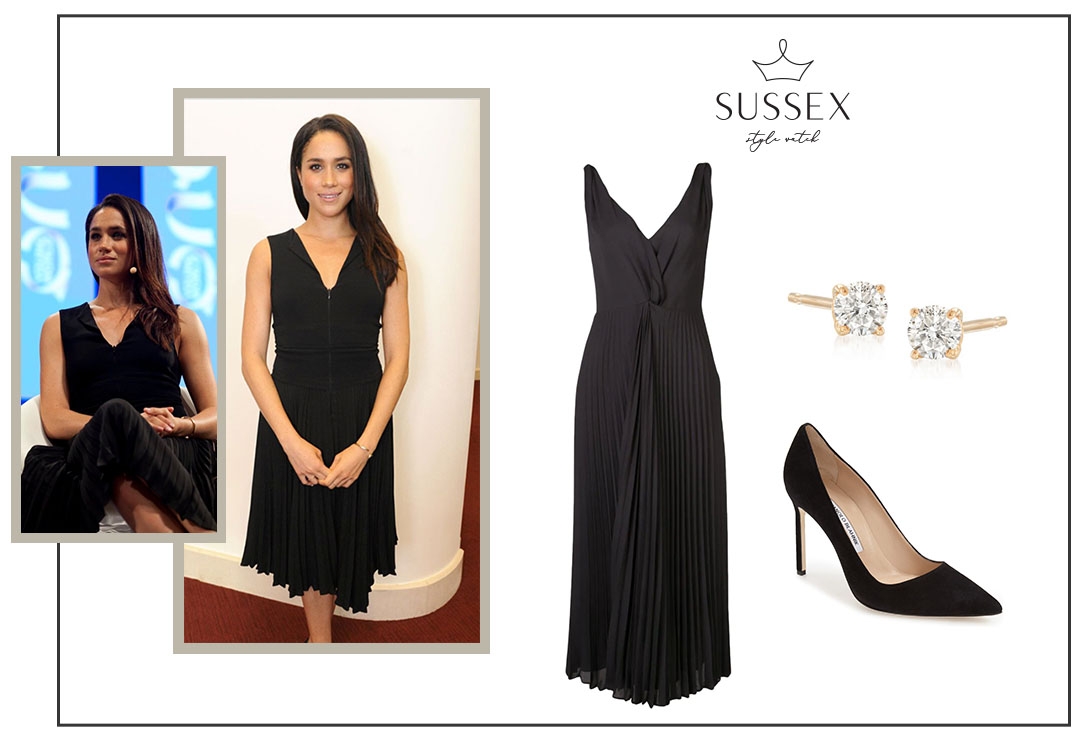 MEGHAN MARKLE WEARS BLACK PLEATED DRESS TO ONE YOUNG WORLD SUMMIT DUBLIN 2014