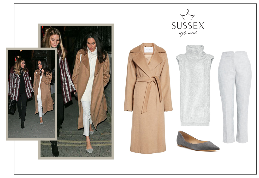 MEGHAN MARKLE WEARS MAX MARA CAMEL COAT WITH OLIVIA PALERMO IN LONDON