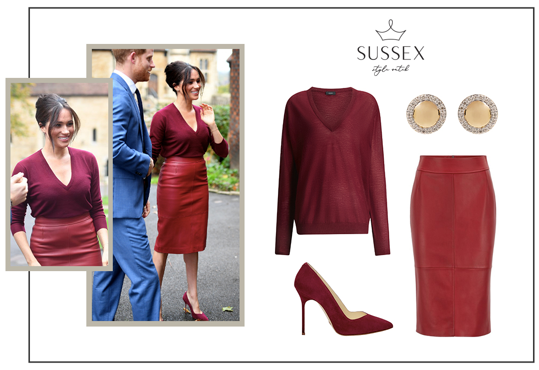 MEGHAN MARKLE WEARS BOSS LEATHER PENCIL SKIRT AND SARAH FLINT PUMPS FOR ONE YOUNG WORLD SUMMIT 2019