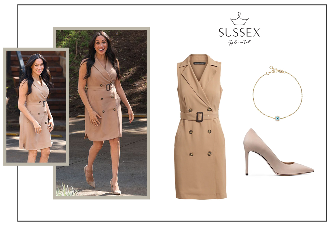 MEGHAN MARKLE WEARS BANANA REPUBLIC TRENCH DRESS FOR VISIT TO THE UNIVERSITY OF JOHANNESBURG