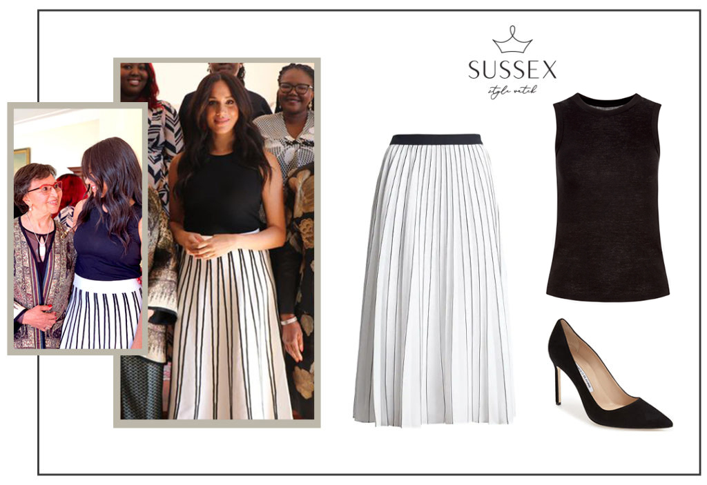 MEGHAN MARKLE WEARS J.CREW STRIPED SKIRT FOR PRIVATE BREAKFAST WITH FEMALE LEADERS IN SOUTH AFRICA