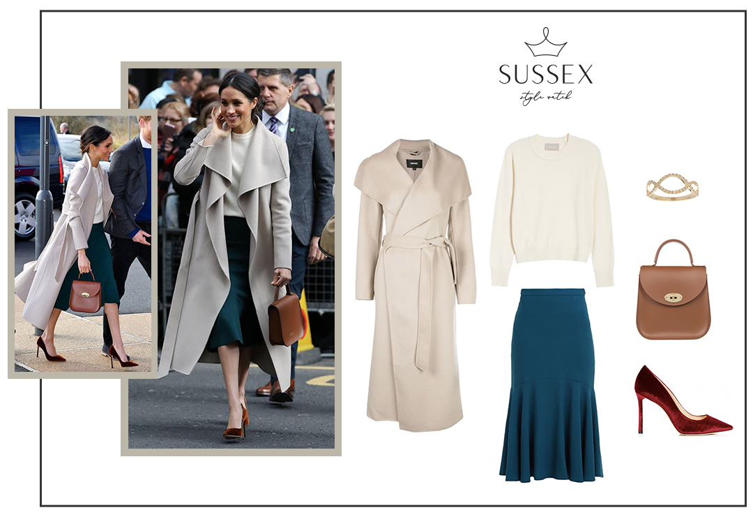 MEGHAN MARKLE WEARS MACKAGE COAT + TEAL SKIRT FOR A SURPRISE VISIT TO BELFAST