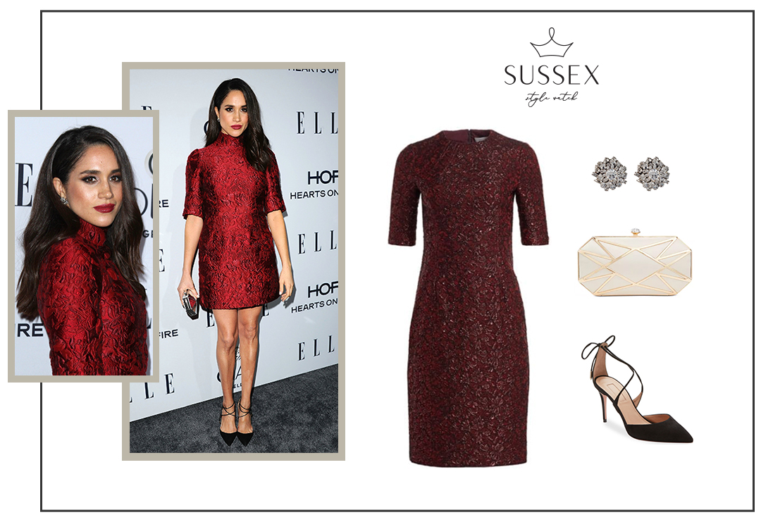 MEGHAN MARKLE WEARS BORDEAUX BROCADE DRESS FOR ELLE'S WOMEN IN TELEVISION DINNER