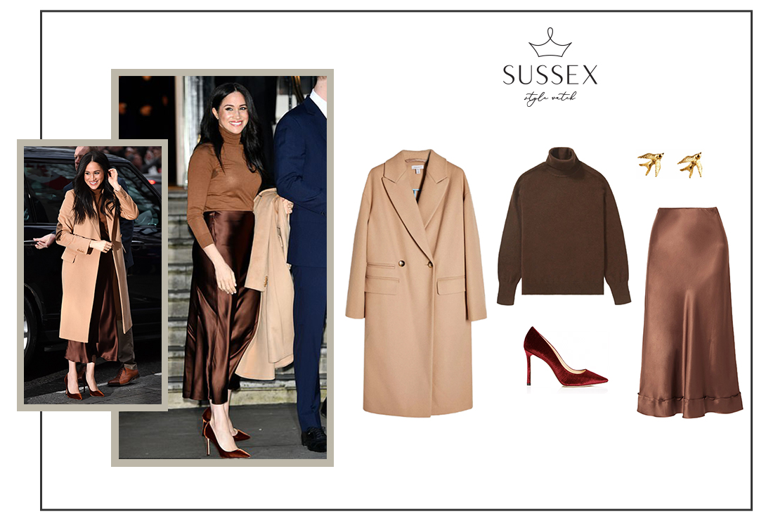 MEGHAN MARKLE WEARS REISS COAT + MASSIMO DUTTI MONOCHROME OUTFIT TO VISIT CANADA HOUSE