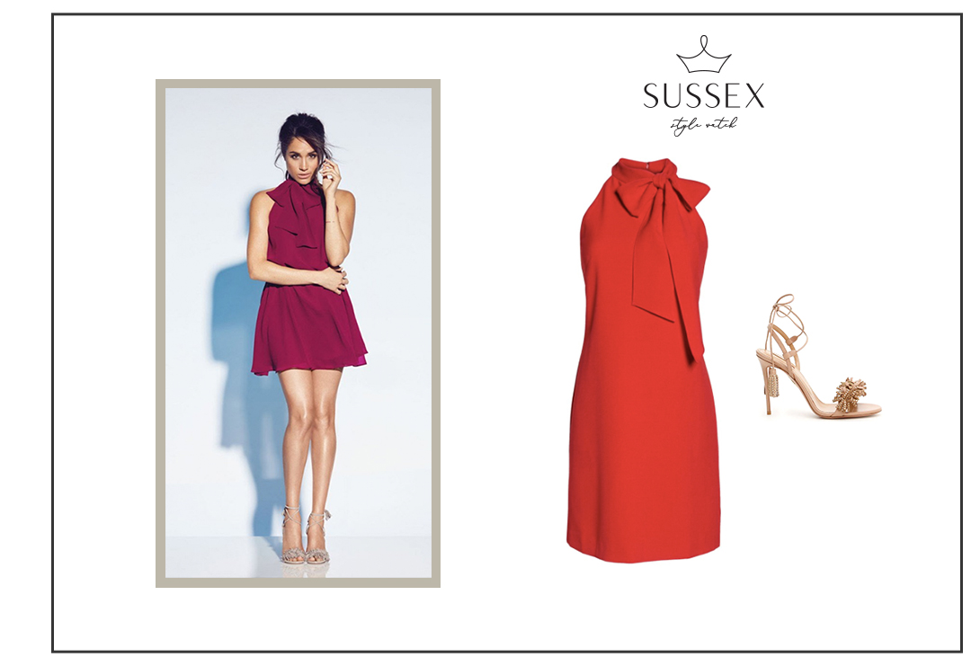 MEGHAN MARKLE WEARS RED HALTER DRESS FOR REITMANS CAPSULE COLLECTION OF DRESS