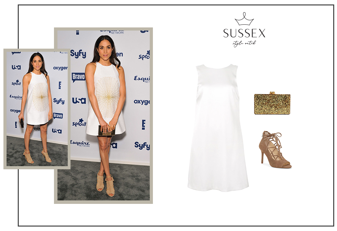 MEGHAN MARKLE ATTENDS NBCUNIVERSAL CABLE ENTERTAINMENT UPFRONTS 2014 IN CUSTOM WALDRIP DRESS