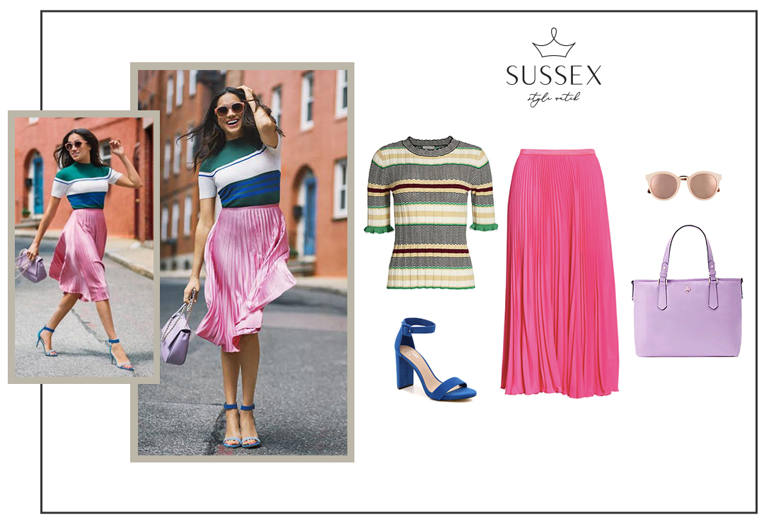 MEGHAN MARKLE WEARS TOPSHOP PINK PLEATED SKIRT + STRIPE KNIT TOP FOR GOOD HOUSEKEEPING