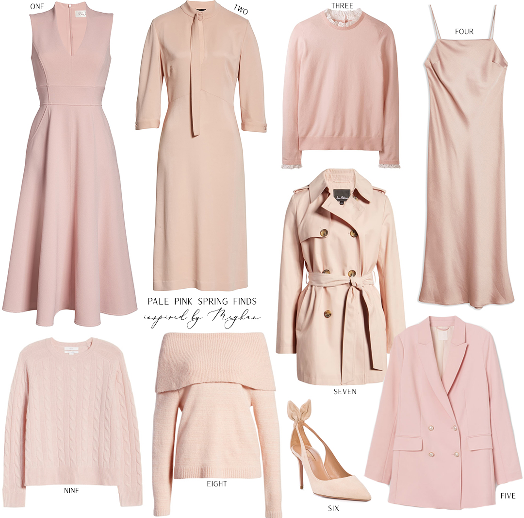 PALE PINK SPRING FASHION FINDS INSPIRED BY MEGHAN MARKLE