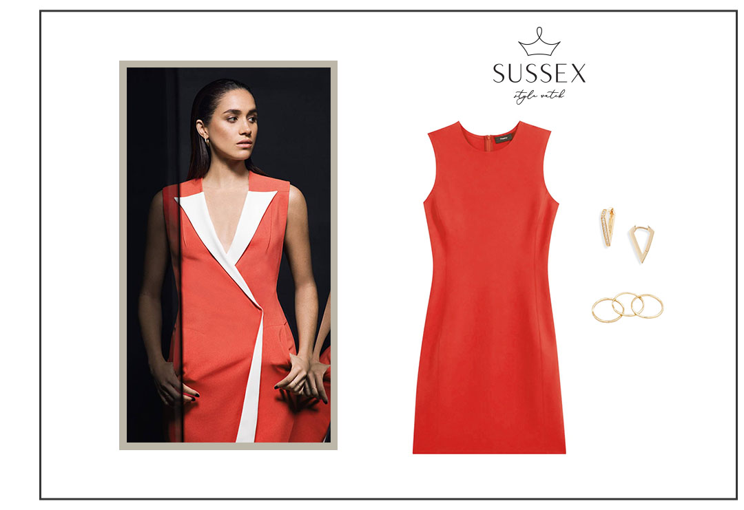 MEGHAN MARKLE WEARS CORAL SLEEVELESS DRESS FOR GLAMOUR 2017