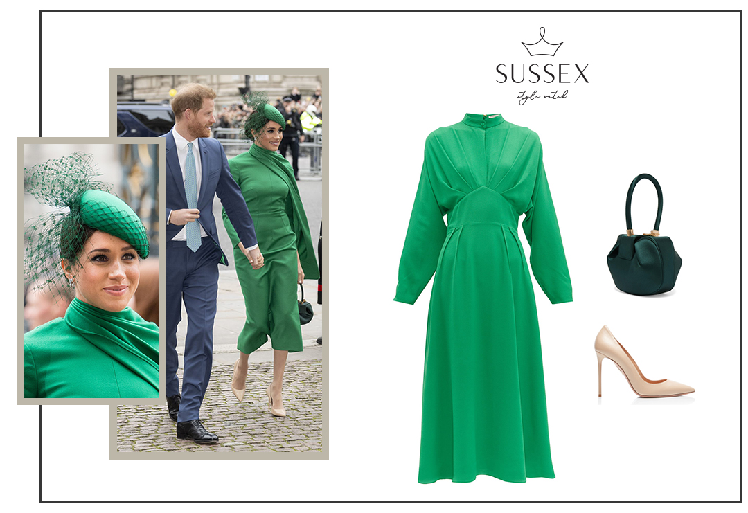 MEGHAN MARKLE WEARS EMERALD EMILIA WICKSTEAD CAPE DRESS FOR COMMONWEALTH DAY