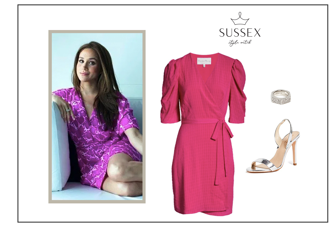 MEGHAN MARKLE WEARS BRIGHT FUSCHIA DRESS + SILVER STRAPPY HEELS
