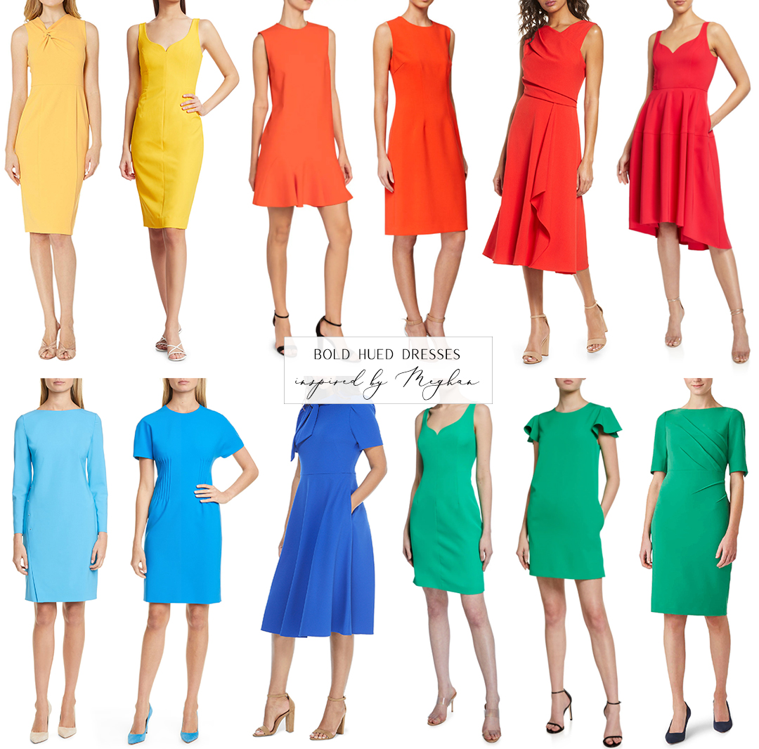 BOLD HUED DRESSES INSPIRED BY MEGHAN MARKLE