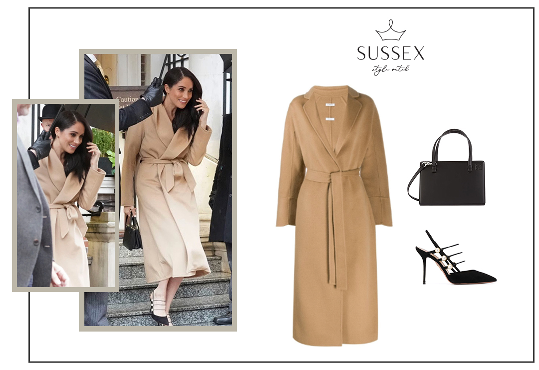 MEGHAN MARKLE LEAVES GORING HOTEL IN ALEX EAGLE CAMEL COAT + AQUAZZURA MAE PUMPS