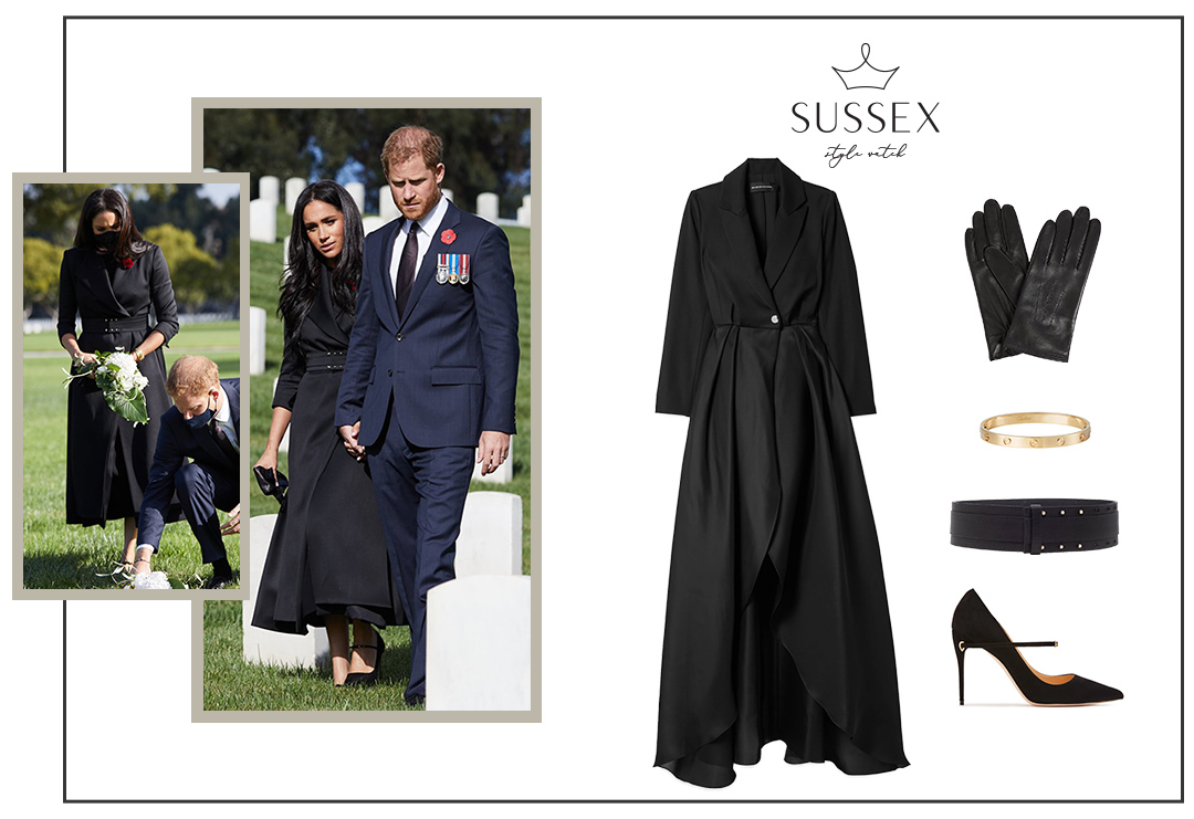 MEGHAN MARKLE WEARS BRANDON MAXWELL COAT FOR VISIT TO LOS ANGELES NATIONAL CEMETARY FOR REMEMBRANCE DAY