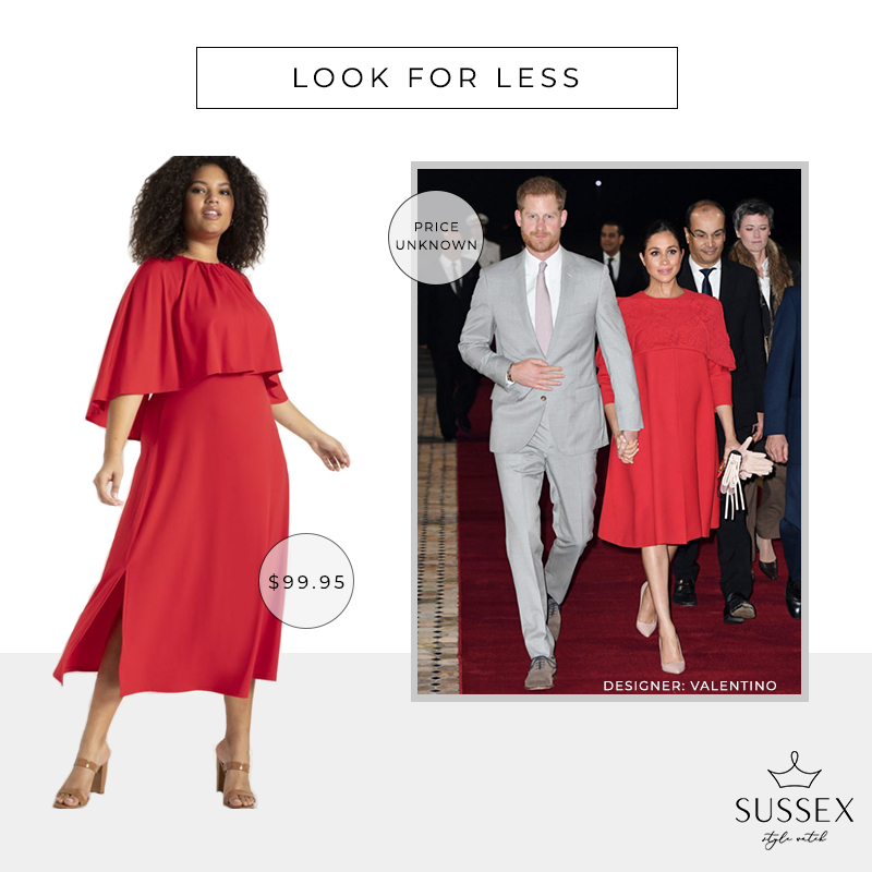 LOOK FOR LESS: MEGHAN MARKLE'S RED VALENTINO CAPE DRESS